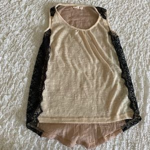 Anthropologie a'reve side lace tank top size small